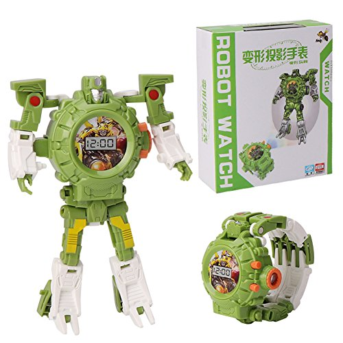 Faironly Kinder Trasformation Armbanduhr Spielzeug Cartoon Projektion Uhren Kinder Roboter Transformation Spielzeug Grün 2