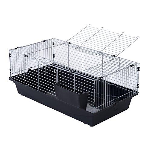 PawHut Gabbia per Conigli Conigliera da Casa 2 Aperture Vassoio Rimovibile Ferro e Plastica 100 × 55 × 41cm