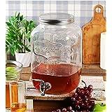 Transparent Mason Jar Beverage Dispenser Glass Air Tight, Liquor Dispenser Beer Dispenser, Cold Water Pitcher/Juice Dispenser Holder,4 Liter Large Dispenser