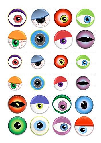 Cupcake-Dekoration, Motiv: gruselige Augen, für halloween, 4 cm, 24 Stück (Dekorationen Uk Cupcakes Halloween)
