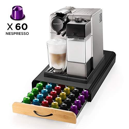 Ecooe Soporte para cápsulas de café Rack de cápsulas de acero inoxidable para 60 Nespresso Dispensador de cápsulas con cajón de rejilla de superficie antideslizante