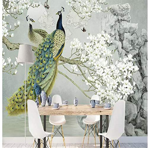 HUANGYAHUI Papier Peint Papier Peint Elégant Peach Flower Stylo Peint à la Main Fleur et Oiseau Fond-400cm W x 200cm H