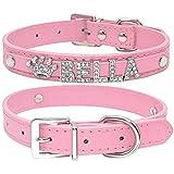 Yiqinyuan Strass Welpen Hundehalsbänder personalisierte kleine Hunde Chihuahua Kragen benutzerdefinierte Halskette Free Name Charms Pet Zubehör Pink XS