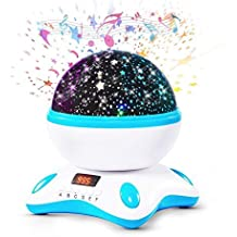 XY - Proyector bebe lámparas estrellas, romántica bebe luz nocturna, 360 grados rotación música