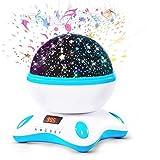 Moredig - Proyector bebe lámparas estrellas, 360 grados rotación música proyector infantil con led pantalla y control remoto con 8...
