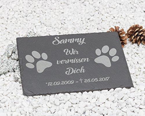 CHRISCK design Gedenktafel mit Gravur Tatzen Grabstein/Grabplatte mit Gravur ca. 30 x 20 cm für Tiere/Hund Katze Pferd schönes Andenken an die Liebsten-Text-gravur - kein Druck!