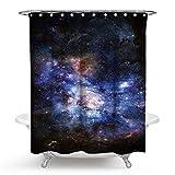 Bishilin Polyester-Stoff 3D Vintage Duschvorhang 150x180 Galaxis Sterne Anti-Schimmel Duschvorhang