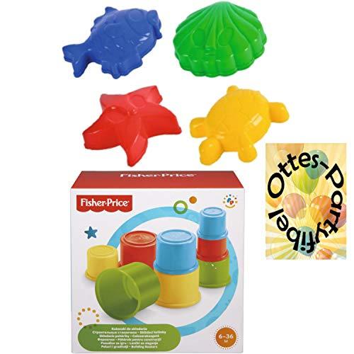 HHO Fisher Price Baubecher + Sandspielzeug Sandförmchen Tiere im Netz