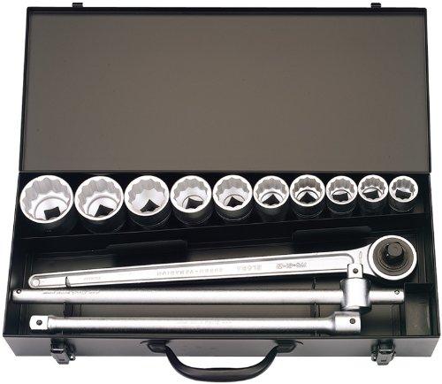 13 Stücke 1.91 cm Vierkantantrieb metrisch ELORA Steckschlüsselsatz – professionelle Qualität, hergestellt aus Chrom vanadium Stahl geschmiedet, vergütet und für besseren Korrosionsschutz zusätzlich verchromt.