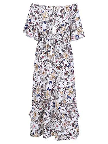 Missy Chilli Damen Lang Kleid Sommer Elegant Off Shoulder Kurzarm Blumen Boho Chiffon Maxi Kleid Strandkleid Dress Weiß (Off-shoulder-kleid)