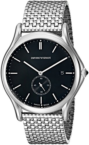 7dbd3371fd4b Emporio Armani Swiss Made Men s ARS1005 Analog Display Swiss Quartz Silver  Watch