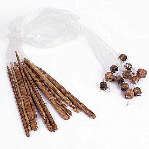 12tlg Afghanische Tunesische Bambus Häkelnadel Schlauch Teppich Stricknadeln 3-10mm