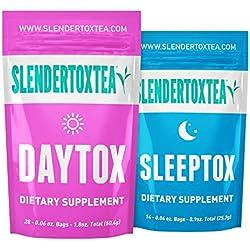 Slendertoxtea - 28 Tage Tag + Nacht (Gewichtsverlust Tee, Diät Tee, Schlankheits- Tee und Fett verbrennen Tee) Diätergänzung, Detox & Grüner Tee …
