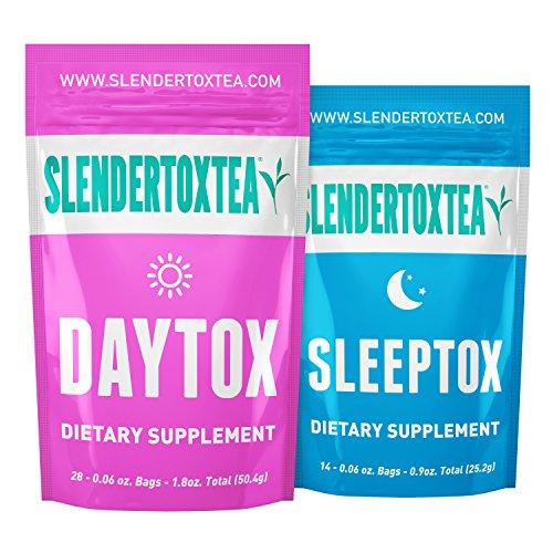 Slendertoxtea - 28 Tage Tag + Nacht (Gewichtsverlust Tee, Diät Tee, Schlankheits- Tee und Fett verbrennen Tee) Diätergänzung, Detox & Grüner Tee ... - Kräuter-diät-pille
