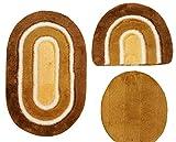 Badgarnitur 3 tlg. Set 80 x 50 cm oval terrakotta weiß mit Glitzer, 2cm Flor, WC Vorleger ohne Ausschnitt für Hänge-WC