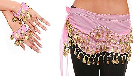 Belly Dance Bauchtanz Kostüm Hüfttuch Münzgürtel Gürtel in rosa NEU /Marke PRECORN (Über Bauchtanz Kostüme)