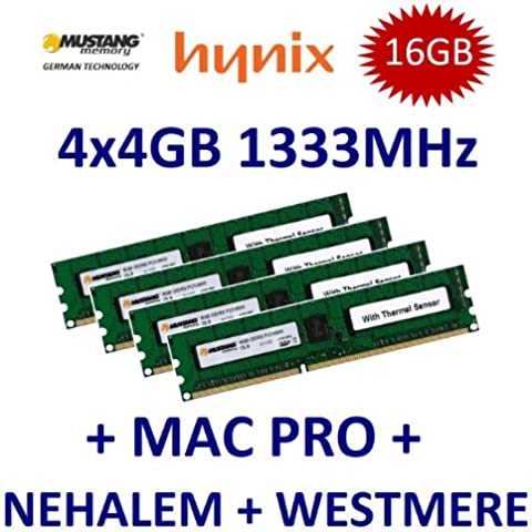 16 GB Dual Channel Kit Mustang/Hynix 4 x 4 GB DDR3 1333 mhz PC3-10600E 240 (Ecc Unbuffered Dimm A 240 Pin)