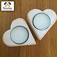 Heart shapes Tea Lights and Candle Holders Wood Rustic Shabby Chic White Family Gift Ideas - Pair 2