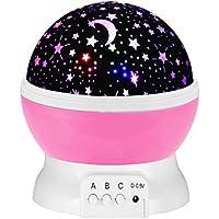 Rotazione Notte Stellata Luce 3 Modi Romantico Stella Cosmos Proiettore per Cameretta Regalo di Compleanno-Rosa