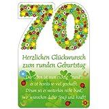 Susy Card 11324555 Glückwunschkarte Geburtstag, Zahl - 70, Blumen, A4