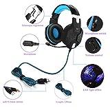 Gaming Headset PS4, marsboy Gaming Kopfhörer mit Mikrofon LED Effekt für PS4 PC Film Gaming Spielen Chat Musik Blau. - 4