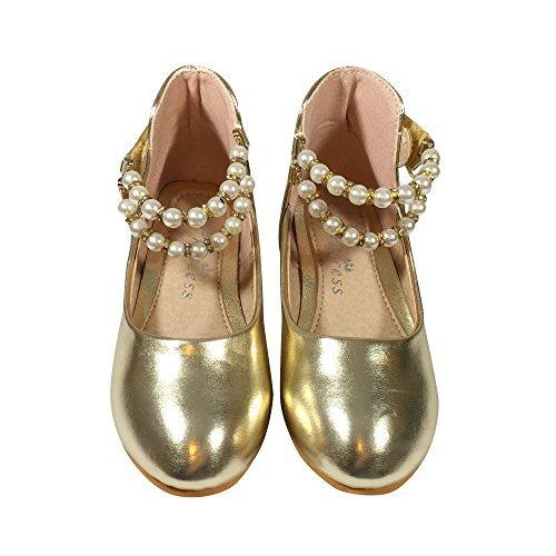 TZ _Online Mädchen Kleinkind Kinder Lovely Prinzessin Schuhe Tanzschuhe Freizeitschuhe/Party/Abendschuhe Schule Tragen - Gold, 10 UK Child
