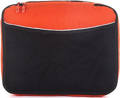 Packwürfel Kleidertaschen Packing cubes Koffertaschen für angenehmes Reisen und aufgeräumte Koffer -Große und mittelgroße Taschen zum Schutz und zur Komprimierung von vielen Kleidungsstücken, Schuhen  Large-Orange