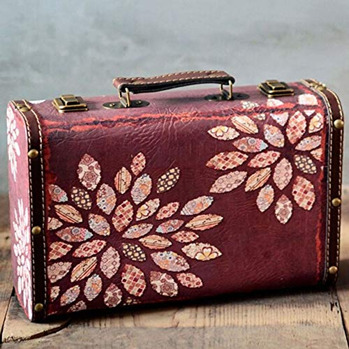 CHENSHJI Deko-Koffer aus Leder im Vintage-Stil für Reise, Reise, Retro-Dekorationen für das Heim, Hochzeitsdekoration 28×20×10cm weiß