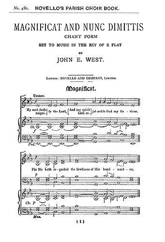 John E. West: Magnifikat and Nunc Dimittis In E Flat (Unison). Partitionen für Stimme Unison/Begleitung Orgel Unison-flat