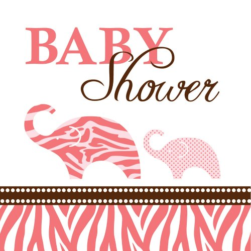 es Serviettes en Papier Baby Shower Safari Rose 25 x 25 cm ()