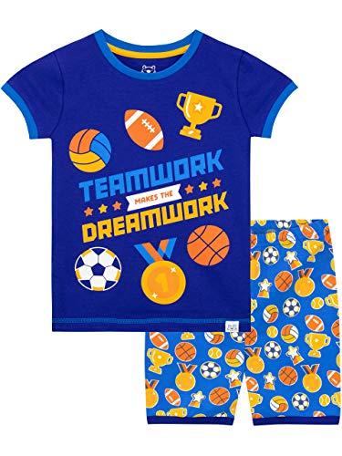 Harry Bear Jungen Sport Schlafanzug Kurz Blau 122 - Jungen Sport-pyjama