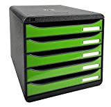 Exacompta Big Box Plus Classic Schwarz/Glossy Apfelgrün mit 5 Schubladen/Stapelbare Schubladenbox im Hochformat für mehr Platz auf dem Schreibtisch
