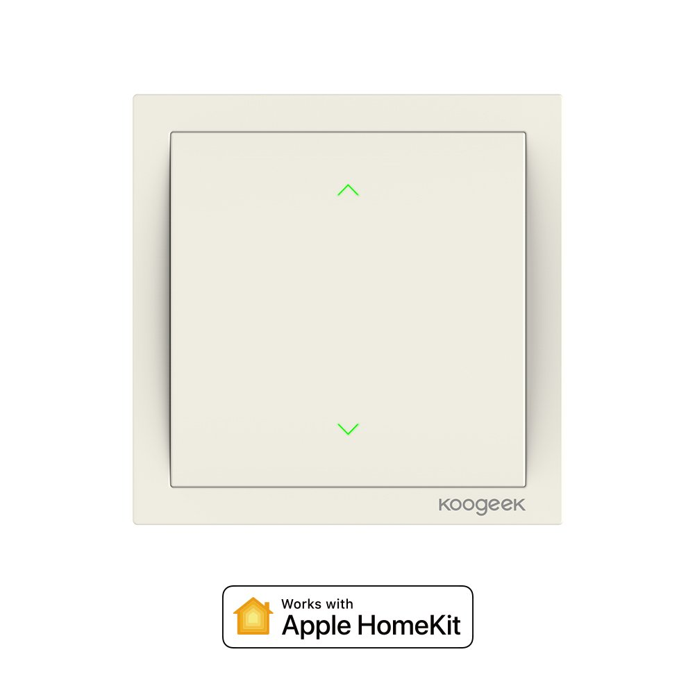Koogeek Wi-Fi Interrupteur intelligent Smart Light Interrupteur pour Apple HomeKit et Siri Remote Control support 2.4 GHz réseau pole beige Nécessite un fil de neutre (two Gang)
