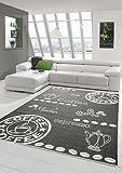 Teppich Modern, Flachgewebe Sisaloptik Küchenteppich Coffee Schwaz Weiss (TraumTeppich) Größe 80x150 cm