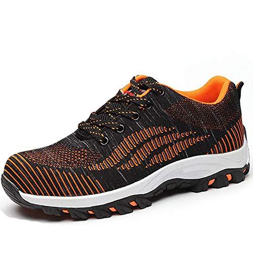 SUADEEX Damen Herren Sicherheitsschuhe Sportlich Trekking Wanderhalbschuhe Stahlkappe Arbeitsschuhe Hiking Schuhe Traillaufschuhe, 04-orange, 41 EU -