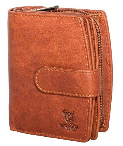 MATADOR Damen Leder Geldbörse RFID Antik Vintage Braun
