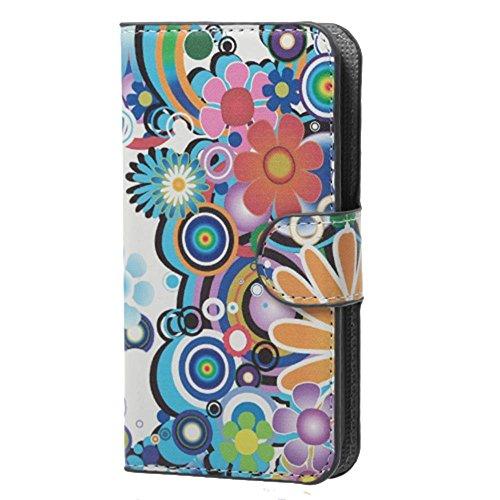 Housse Samsung Core Plus,Étui à Rabat Coque en PU Cuir Étui Pour Samsung Galaxy Core Plus (GT-G3500 / SM-G350 / G3502) Case Cover Portefeuille Housse de Protection Protecteur (#2 Treillage coloré) Fleurs colorées