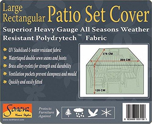 Soneva Large Rectangular Patio Garden Furniture Table Set Polyester Weatherproof Cover Black, Heavy duty 278cm x 204cm 120cm #KC04#Blk102700 (Black)