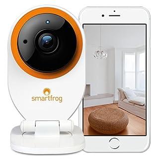 Smartfrog WLAN HD Überwachungskamera/IP-Kamera innen mit App; ABO-Modell monatlich kündbar; Nachtsichtfunktion; Bewegungsmelder; Alarmfunktion; Videospeicher; Zwei-Wege-Audio; einfach installiert
