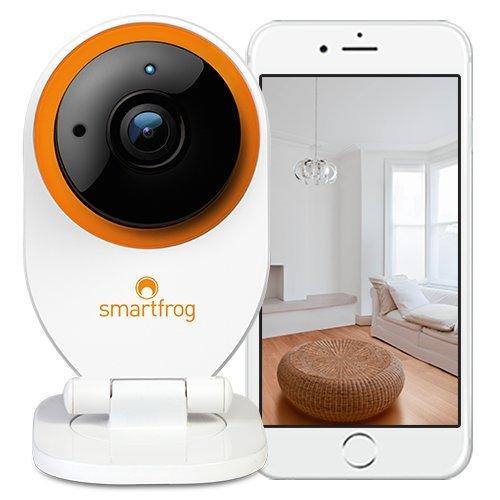 Smartfrog WLAN IP Kamera, ABO-modell monatlich kündbar; Geräuscherkennung; Nachtsichtfunktion; Bewegungserkennung; Alarmfunktion; Zwei-Wege-Audio; kostenlose Cloud; Babyphone mit Kamera und App