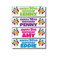 2 Personalised Birthday Banners - Balloon Side Design - Any Name & Any Age - Available in 6 Colours (Approx 3ft x 1ft) (Blue)