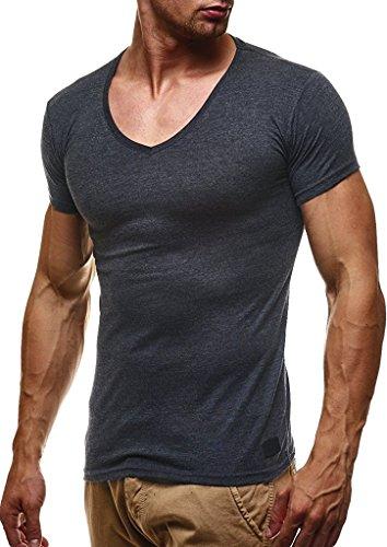 Leif Nelson Herren Sommer T-Shirt V-Ausschnitt Slim Fit Baumwolle-Anteil Basic Männer T-Shirt V-Neck Hoodie-Sweatshirt Kurzarm lang LN6372 Anthrazit Large