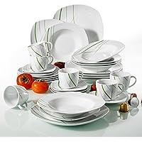 Veweet 'Aviva' Vajilla de porcelana 30 piezas vajilla completa incluye 6 tazas de café de 175ml, 6 platillos, 6 platos de postre,6 platos hondos y 6 platos llanos,vajilla para 6 personas