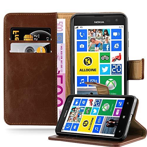 Cadorabo Hülle für Nokia Lumia 625 - Hülle in Terra BRAUN – Handyhülle im Luxury Design mit Kartenfach und Standfunktion - Case Cover Schutzhülle Etui Tasche Book