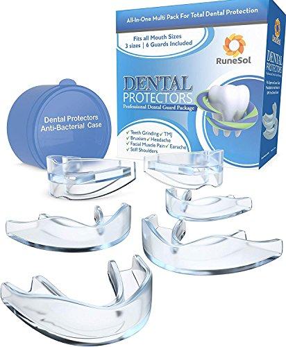 Byte dentale notturno della bocca per i denti Rettifica x 6 | Tecnologia Easy Mold | Confezione da 6 in 3 formati Bocche di bocca per il byte bruxismo la rettifica dei denti, TMJ, Bruxismo