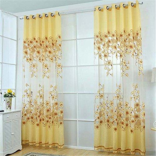 Tangbasi, tende floreali in tulle, a pannello, semi trasparenti, mantovana, poliestere, light yellow, taglia unica