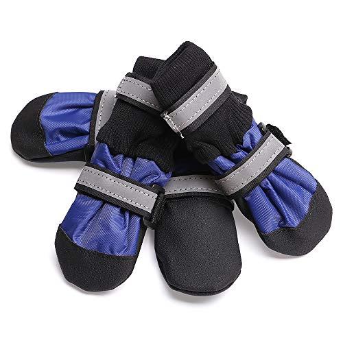 TFENG Protective Dog Boots Pfotenschutz Wasserdicht mit Anti Slip Sohle Rutschfest (Blau, Größe S) (Klettverschluss-boots)