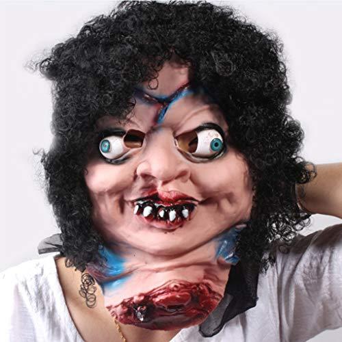 Scary Zombie Clown Maske Big Mouth Schwarzes Haar Cosplay volles Gesichts-Horror-Maskerade Erwachsene ()