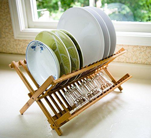 7Trees Folding 2-Tier Bamboo Dish Drying Rack