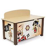 Homestyle4u 1115 Kinder Spielzeugtruhe Pirat, Spielzeugkiste mit Deckel klappbar, Aufbewahrungsbox, Holz Braun